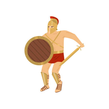 Fighting strong gladiator in red loincloth and steel greave isolated. Brave warrior protects chest with round wooden shield and prepares sword to repel enemy s blow. Ancient history concept