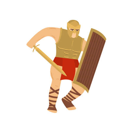 Fighting strong legionary in steel armor. Brave centurion in red loincloth, steel helmet, covering face, and breast-collar. Legionnaire raising sword and rectangular shield carries out an attack