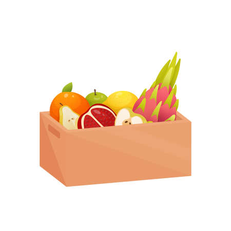 Sweet dessert in deep rectangular wooden box isolated on white background. Package filled with pitahaya, green apple, orange, sliced pomegranate, several pears. Healthy food concept. Иллюстрация