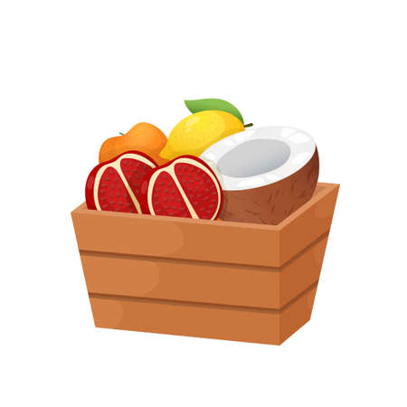 Deep wooden box with juicy fruits isolated on white background. Package filled with lemon and orange, sliced coconut and pomegranate. Healthy food concept.