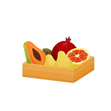 Large flat wooden box with sweet dessert fruit isolated on white background. Big storage container filled with two pears, avocado, papaya and sliced grape-fruit. Healthy food concept.
