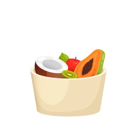 Plastic round fruit dish. Deep utensil filled with red apple, sliced papaya, kiwi, coconut isolated on white background. Healthy food concept. Storage method