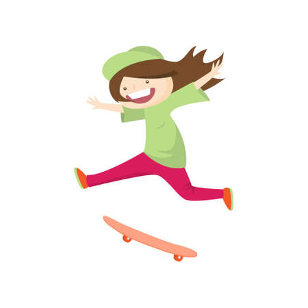 Satisfied smiling girl skateboarding fast isolated on white background. Teenager in green cap and sportwear bounces during descent. Summer activity and happy childhood concept Illustration