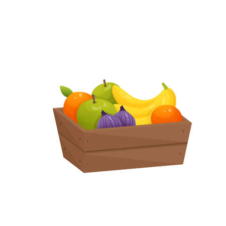 Juicy colorful fruit in wooden box isolated over white background. Container with purple figs, yellow bananas, oranges, green apples. Autumn harvest or diet, healthy food concept