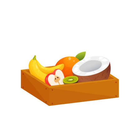 Juicy colorful fruit in wooden rectangular box isolated over white. Container with half red apple, coconut and kiwi, whole orange and two bananas. Autumn harvest or diet, healthy food concept Illustration