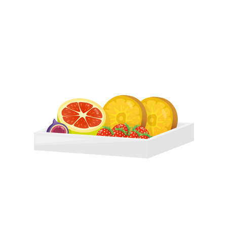 Sweet dessert in rectangular modern plastic box isolated on white background. Package filled with strawberries, sliced oranges, grapefruit and fig. Healthy food concept. Reklamní fotografie - 124954678