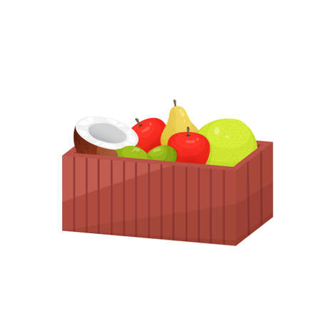 Juicy colorful fruit in wooden large rectangular box isolated over white background. Container with half coconut, red apples, pear, lime, pomelo. Autumn harvest or diet, healthy food concept