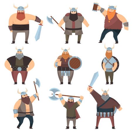 Set of many male vikings with battle axes, swords, shields and booze. Warrior characters from northern countries over white background. Early medieval history concept Ilustração