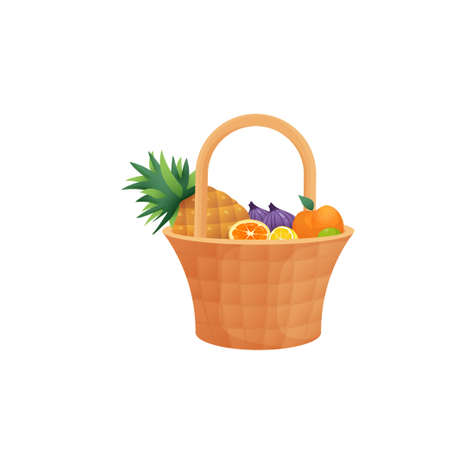 Juicy colorful fruit in wicker basket with handle isolated over white. Package with pineapple, figs, orange, lime and halves of lemon and tangerine. Autumn harvest or diet, healthy food concept