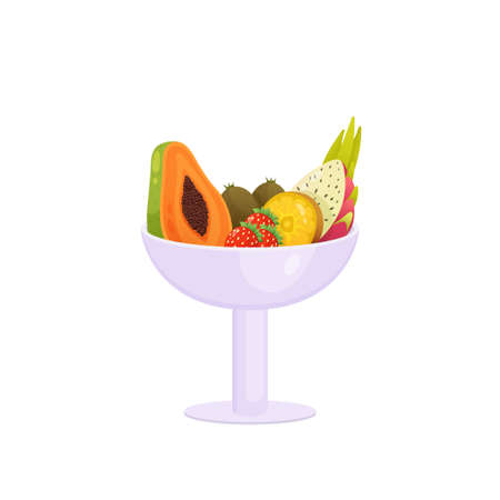 Juicy colorful fruit in long stalk vase isolated over white background. Dish three strawberries, two kiwi, and sliced pitahaya, papaya and orange. Autumn harvest or diet, healthy food concept Illustration
