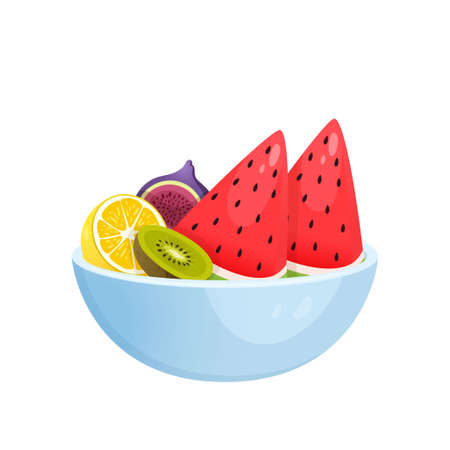 Juicy colorful fruit in bowl isolated over white background. Watermelon, kiwi, pomegranate, lemon. Autumn harvest or diet, healthy food concept.
