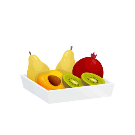 Juicy colorful fruit in plastic container isolated over white background. Box with two pears, one pomegranate, halves of kiwi and apricot. Autumn harvest or diet, healthy food concept