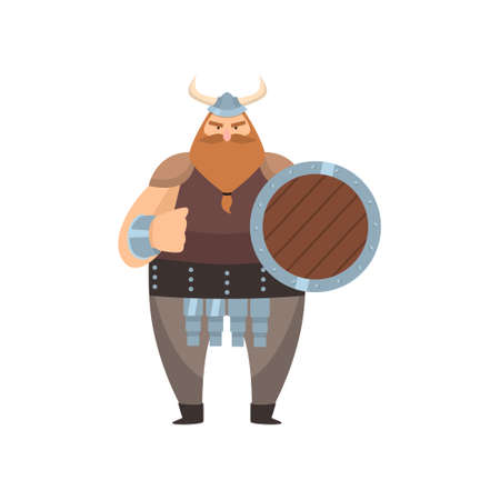 Old red-bearded viking in traditional clothes and steel helmet. Scandinavian warrior stands with shield and threatens with fist over white background. Early medieval history concept Ilustração