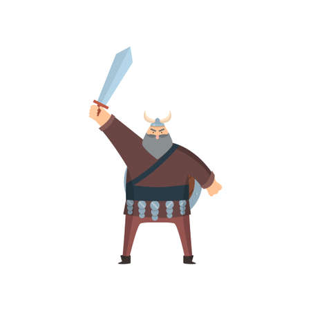 Old grey-headed viking in traditional clothes and steel helmet. Scandinavian warrior stands with sword above head over white background. Early medieval history concept