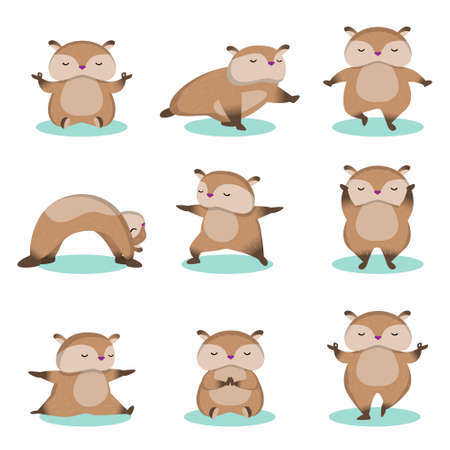 Set of relax yoga hamsters isolated on white background. Cute rodents training, stretching, doing healthy exercise and meditation. Animal meditation sport fitness concept. Ilustração