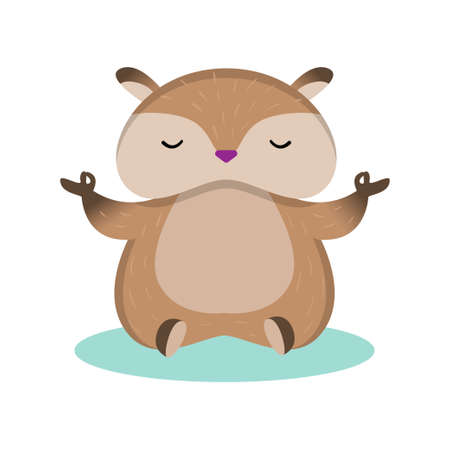 Plump fluffy hamster sits in the lotus position and meditates isolated on white background. Brown rodent with closed eyes training, doing healthy exercise. Animal meditation sport fitness concept. Illusztráció