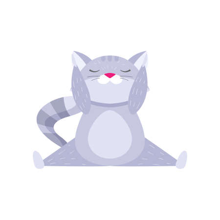 Plump fluffy raccoon sitting in cross splits with raised arms and meditating. Cartoon isolated on white background. Meditation concept.