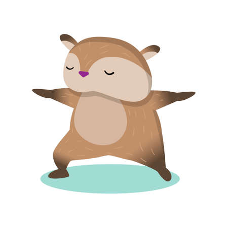 Plump fluffy hamster doing wushu exercise. Brown rodent perform gymnastic and yoga poses. Cartoon isolated on white background. Animal meditation concept.