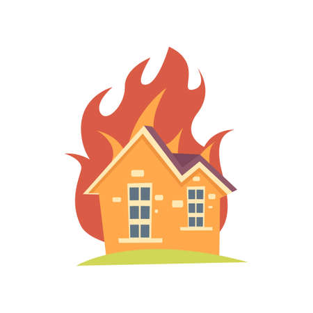 Burning house with flame outside the walls isolated on white background. Family home on fire. Natural disasters, accident concept. Fire Insurance