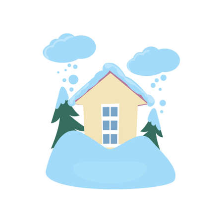 Snow flurry around house isolated on white background. Family home on snow blizzard, icy storm. Natural disasters concept. Cataclysm insurance