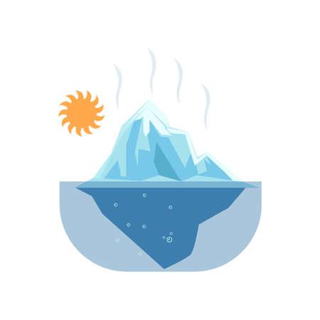 Glaciares derretidos bajo un sol ardiente. Icono aislado sobre fondo blanco. Problema de calentamiento global, concepto de peligro ambiental. Temática de desastres naturales