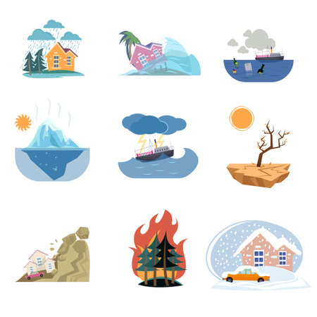 Set of outdoor natural disasters icons isolated on white. Different weather cataclysms. Thunderstorm on land or sea, snowfall, rock-fall, fire in the forest, ecological catastrophy, global warming Иллюстрация