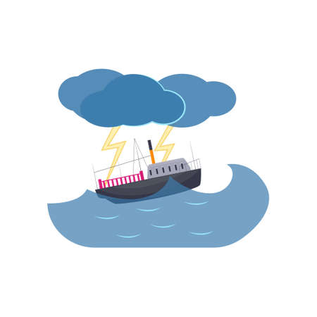 Ship swimming in sea thunderstorm and lightning isolated on white background. Curvy high waves, rain in ocean with streak of lightning. Natural disaster thematic. Environmental hazard concept