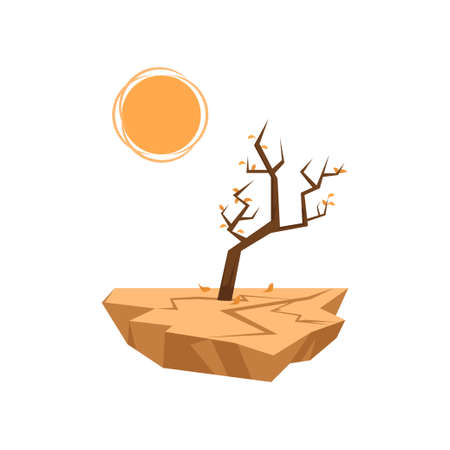Dead tree with last one orange leaves sprouts in dry soil under hot sun. Icon isolated on white background. Global warming, air drought. Natural disaster thematic. Environmental hazard concept.