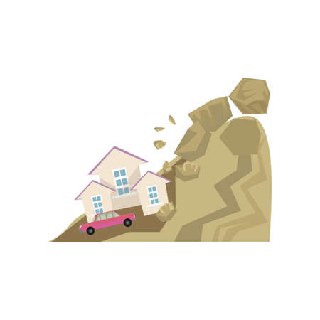 Big stones falling from hillside on house and car. Landslide isolated on white background. Rock fall natural disaster concept. Dangerous situation insurance