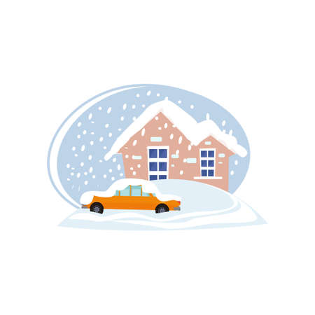 Houses and car in snowdrifts isolated on white background. Snowfall in city. Natural disaster, climate changes thematic. Environmental hazard concept.