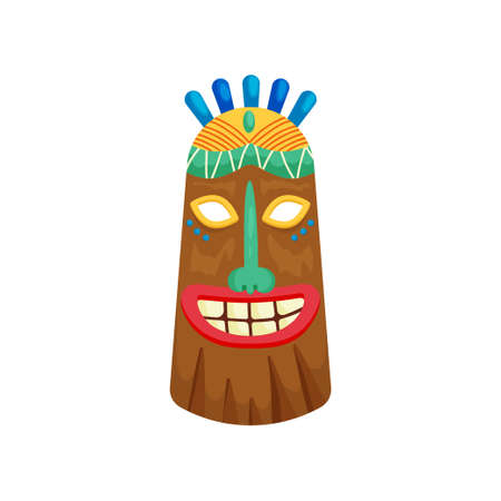Ancient tribal religious mask with toothy smile and small green gemstone in forehead. Mystical ritual symbol decorated with several blue decors on head. Aboriginal ethnic art concept.
