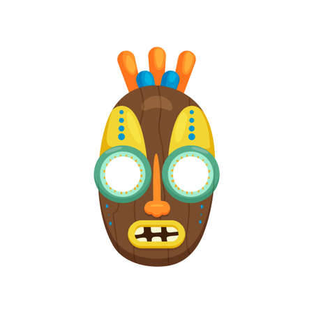 Wooden oval shaped african mask with large round eyes isolated on white background. Aboriginal totem with opened toothy mouth. Terrible symbol of tribe. Ethnic art and religion concept