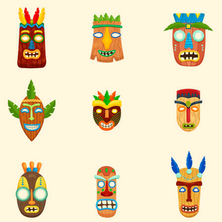 Set of unusual african masks. Ethnic tribal ritual elements in different shapes and colors isolated on white background. Aboriginal art. Ethnic concept Ilustração
