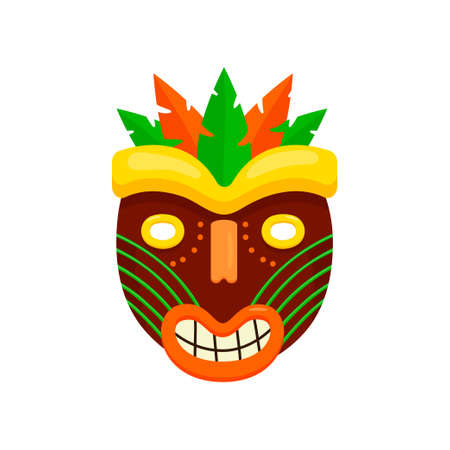 Dark brown round african mask with ugly smiling mouth isolated on white background. Aboriginal totem with green and orange leaves. Terrible symbol of tribe. Ethnic art and religion concept
