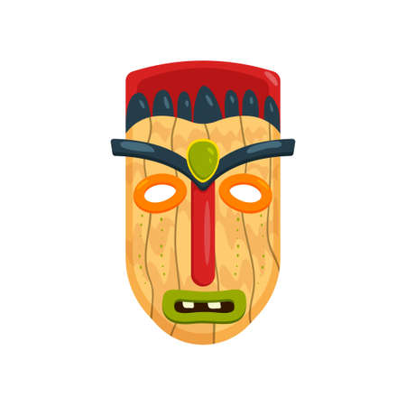 Wooden african mask with green gem in forehead isolated on white background. Aboriginal totem with red nose and headdress. Terrible symbol of tribe. Ethnic art and religion concept