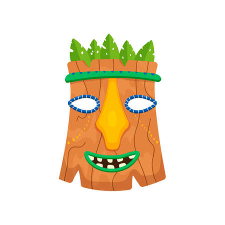 Brown ritual mask with leaves isolated on white background. African or indian totem with ugly smiling mouth. Terrible symbol of tribe. Aboriginal art. Ethnic concept