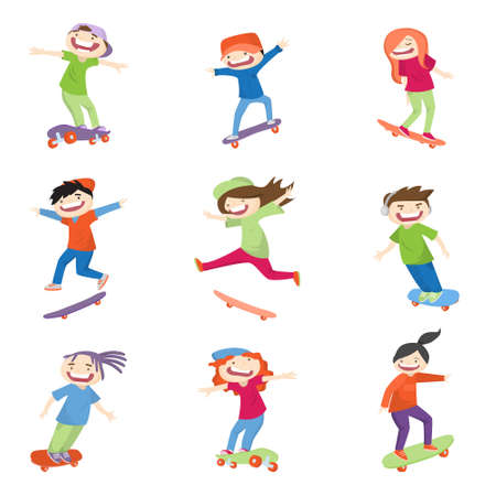 Skateboarding children characters isolated on white background. Girls and boys having free time. Summer activity and happy childhood concept.