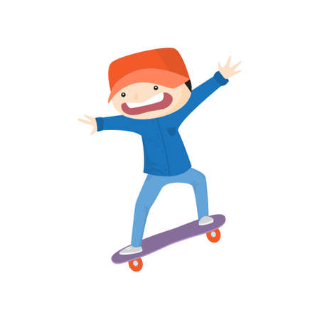 Scared boy with arms spread wide skateboarding fast down from hill isolated on white background. Kid wearing blue suit and red cap have free time. Summer activity and happy childhood concept