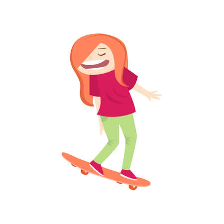 Scared red-haired girl turning away face, closing eyes rolls on skateboard down from hill isolated on white. Kid wearing pink and green have free time. Summer activity and happy childhood concept