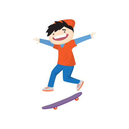 Satisfied smiling boy skateboarding fast. Teenager in red cap and sportwear bounces during descent isolated on white background. Summer activity and happy childhood concept Illustration