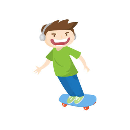 Crazy guy in headphones skateboarding fast isolated on white background. Male teenager screams loud riding in high speed. Summer activity and happy childhood concept