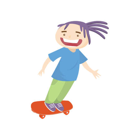 Crazy teenager with violet dreadlocks skateboarding fast isolated on white background. Teen screams loud riding in high speed. Summer activity and happy childhood concept
