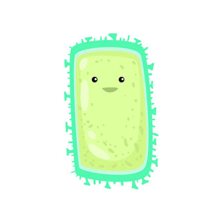 Rectangular green bacterium or virus with short legs around perimeter. Smiling bacteria, germ, protist, microbe isolated on white background. Biology of illness, science of disease concept