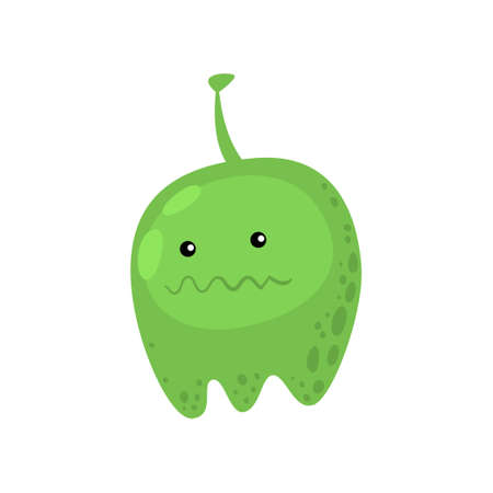 Green viruses or bacteria. Barrel-shaped monster of infection or illness. Microbe organism with crooked mouth. Huge germ with antenna on head. Microbiology of illness, science of disease concept