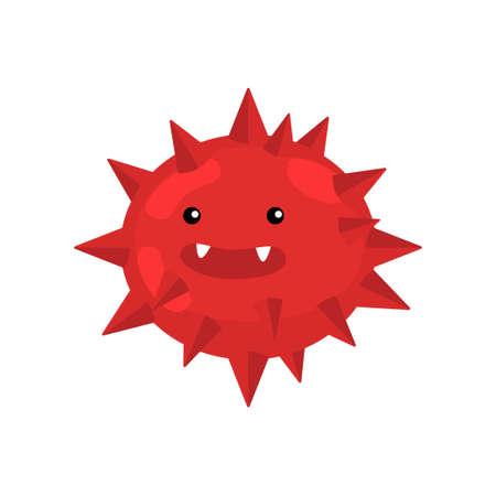 Gros plan d'une bactérie ou d'un virus rond hérissé rouge agrandi au microscope. Bactéries réalistes, germe, protiste, microbe isolé sur fond blanc. Biologie de la maladie, science du concept de la maladie Vecteurs