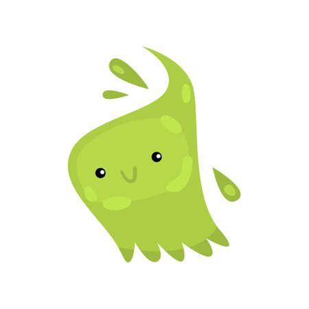 Green viruses and bacteria emoticon character of infection or illness. Irregular shaped microbe organism with smile, cute creeping germ on white. Microbiology of illness, science of disease concept Zdjęcie Seryjne - 124747918
