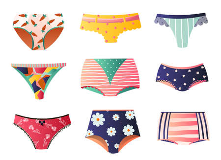 Cute colorful panties set isolated on white background. Bikini, string, tango, retro, brazilian, slip, maxi, cheeky, control briefs in different ornaments and sizes. Feminine underwear concept