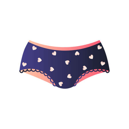 Cute blue panties in lovely design. Hipsters or brazilian with plenty of small hearts. Feminine underwear or teenager lingerie collection concept. Promotion card, advertising flyer