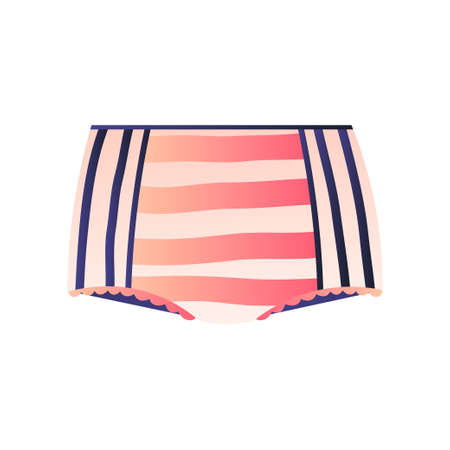 Cute striped panties isolated on white. Maxi, control briefs, high waist, shorts with retro design. Feminine underwear or children lingerie collection concept. Promotion card, advertising flyer Illustration
