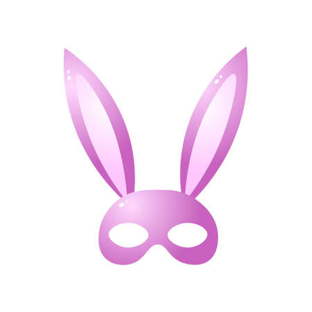 Pink bunny mask for role games isolated on white background 向量圖像